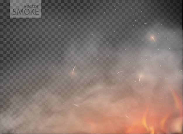 Smoke with fog flame isolated on transparent background