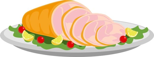 훈제 햄 고립 조제 식품에 대 한 맛있는 슬라이스 햄 그림은 잔치 개념으로 저녁 식사 테이블에 행복 추수 감사절 메뉴에 음식의 그림 평면 만화를 사용합니다 훈제 돼지 고기