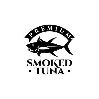 Smoked tuna logo fish vector seafood vintage label