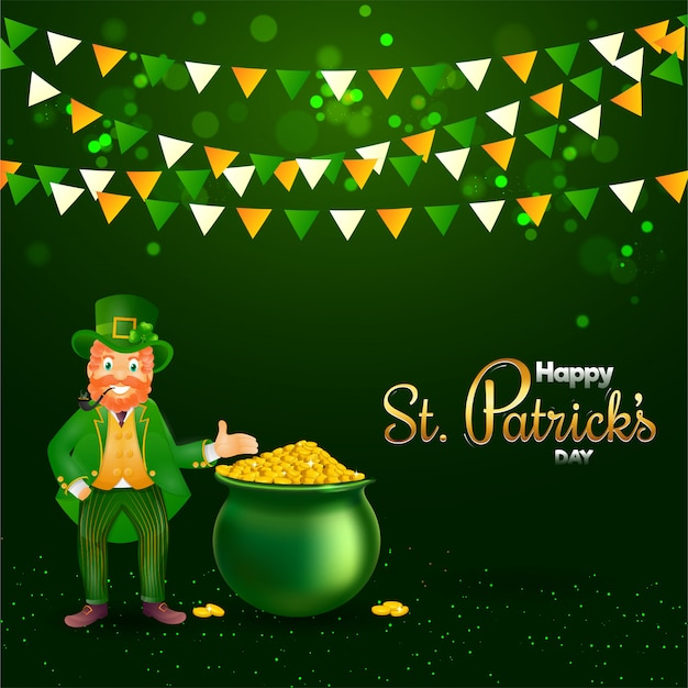 Smoker leprechaun man showing golden coins pot and bunting flag decorated on green lights effect