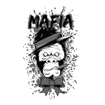 Smoker mafia monkey black and white illustration