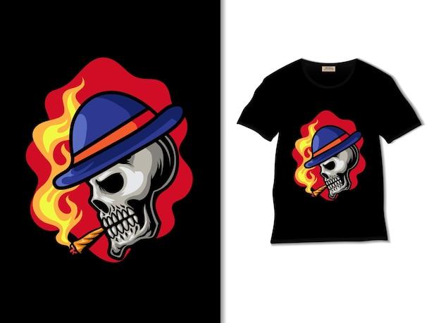 Smoker skull illustration with t shirt design