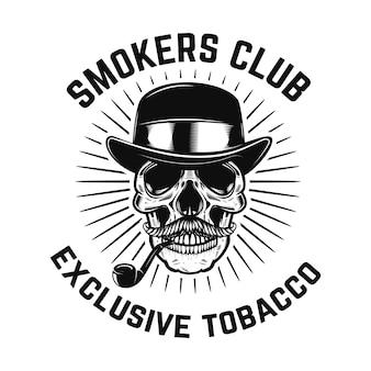 Клуб курильщиков. человеческий череп с курительной трубкой. элемент для знака, значка, этикетки, плаката, карты. образ