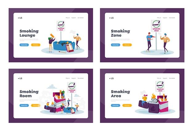 Курильщики в наборе шаблонов целевой страницы для курения. крошечные люди курят возле огромной коробки для сигарет и зажигалки в общественном месте