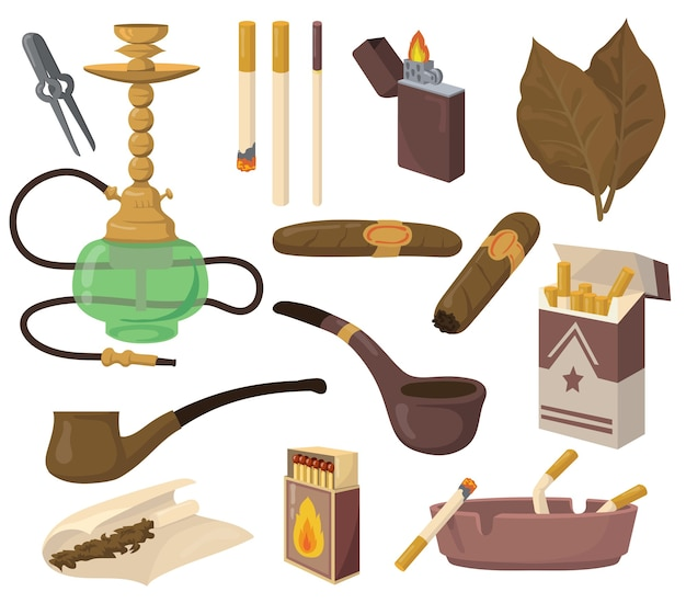 흡연 액세서리 세트. 담배 잎, 담배, 물 담뱃대, 시가, 파이프, 재떨이 흰색 배경에 고립. 마약, 니코틴 중독, 유해한 습관 개념에 대한 벡터 일러스트 모음