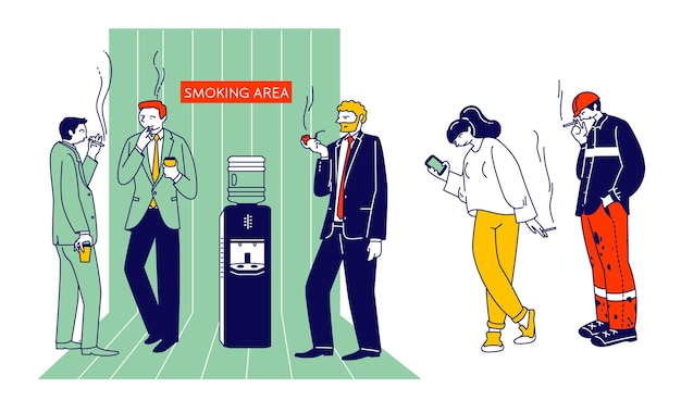 흡연 중독과 나쁜 건강에 해로운 습관 개념. 만화 평면 그림