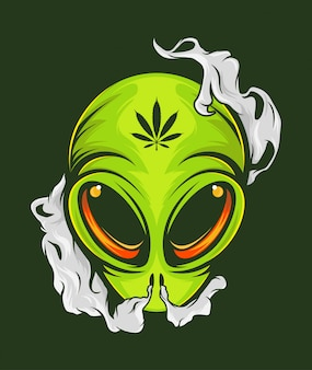 Smoking alien illustration