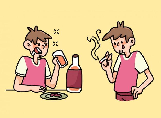 Курить и пить человек привычки карикатура иллюстрации