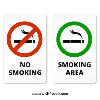 Smoking and non smoking area signs