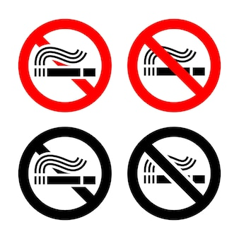 Smoking area set symbols, not allowed sign