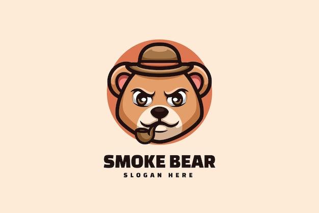 Smoking bear cigar creative cartoon mascot logo design