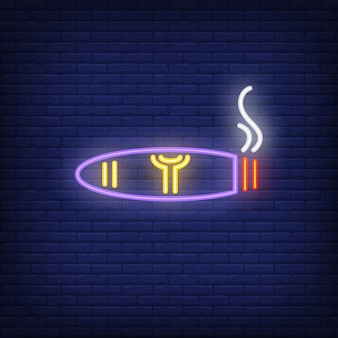 Smoking cigar neon sign