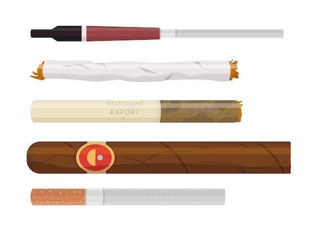 喫煙タバコと葉巻のさまざまな形とサイズのセット