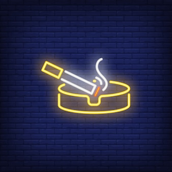 Smoking cigarette on ashtray neon sign