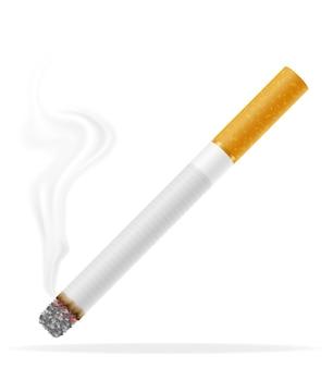 白地に黄色のフィルターでタバコを吸う