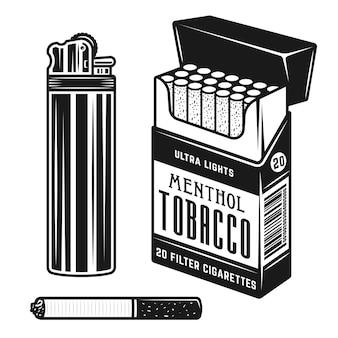 オブジェクトの喫煙要素とアクセサリーのセット Premiumベクター