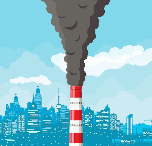 Smoking factory pipe against cityscape clear sky. plant pipe with dark smoke. carbon dioxide emissions. environment contamination. pollution of environment co2.