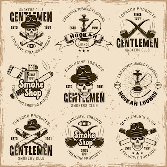 Smoking gentlemen's club, smoke shop and tobacco products set of vector emblems
