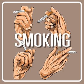 흡연 손 포즈