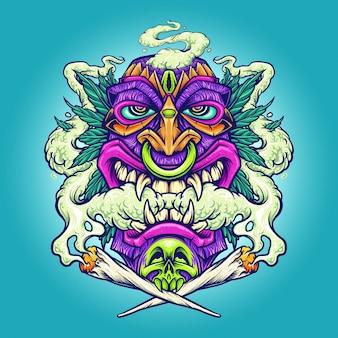 Курение hawaian tiki weed leaf векторные иллюстрации для вашей работы логотип, футболка с товарами-талисманами, наклейки и дизайн этикеток, плакат, поздравительные открытки, рекламирующие бизнес-компанию или бренды.