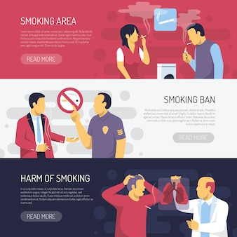 Smoking health risks horizontal  banners