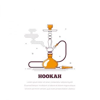 Концепция для некурящих кальян. значок кальяна. дымовая труба и отдых.