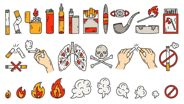 Smoking icons set in doodle style concept of bad habits illustration