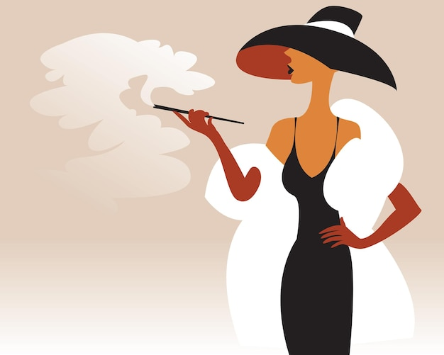 A smoking lady stands dressed in a hat and fur coat