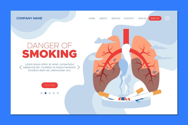 Smoking landing page with sick lungs