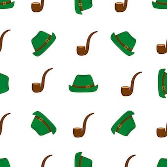담배 파이프와 녹색 모자 그림 원활한 패턴