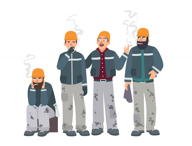 Smoking place. builders on smoke break. mans in a working form with cigarettes. illustration in flat style.