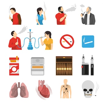 Smoking products risks icons set