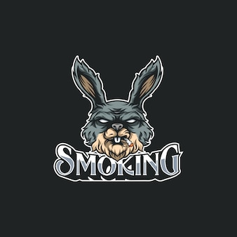 Smoking rabbit illustration