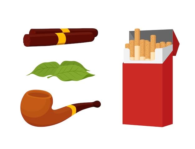 喫煙セット、タバコ、葉巻、タバコ Premiumベクター
