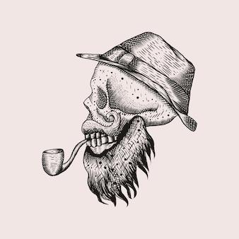 Smoking skull illustration