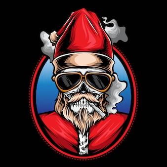Smoking skull santa logo