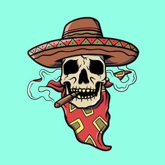 帽子の古い学校の入れ墨のイラストと頭蓋骨を喫煙