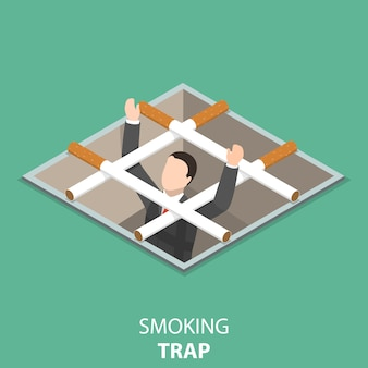 Smoking trap flat isometric concept.