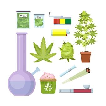 Оборудование для копчения марихуаны. бонг, марихуана, трубка и другие. красивый набор иконок. иллюстрация
