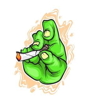 Smoking zombie hand