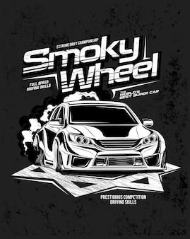 Smoky wheel, illustration of a custom engine car