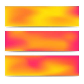 부드러운 추상 흐리게 그라데이션 오렌지 배너 세트입니다. 추상 크리에이 티브 여러 배경입니다. 벡터 일러스트 레이 션