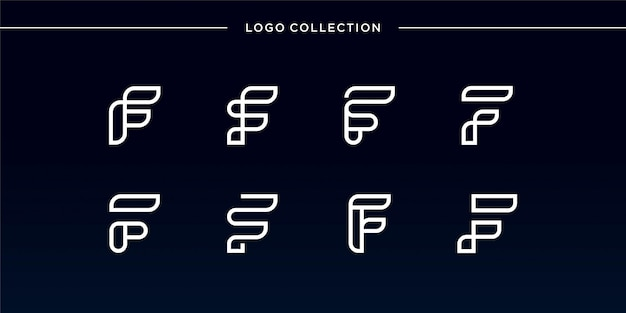 滑らかでモダンな文字fロゴセット、コレクション、ユニーク、新しい、モダン、文字、ラインアート