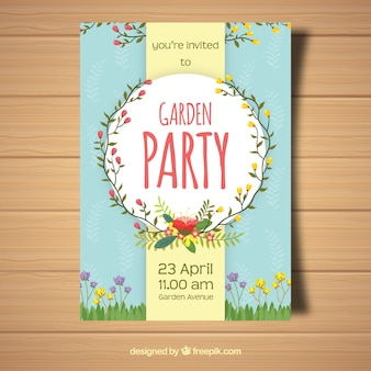 Smooth blue garden party invitation