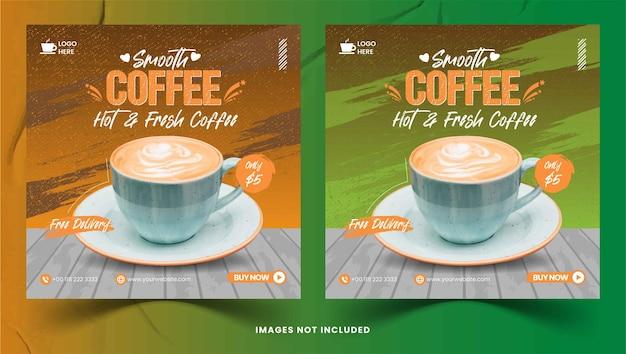 Smooth coffee instagram post collection vector