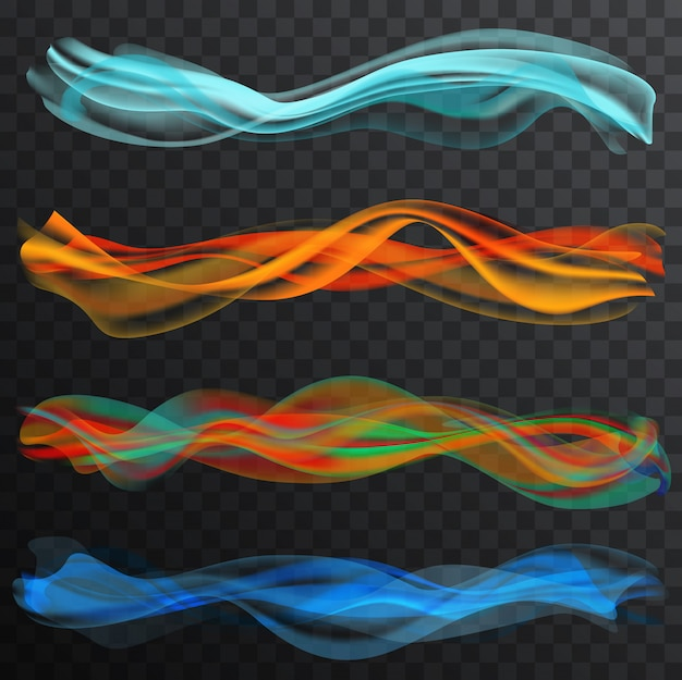 Smooth color smoke waves set