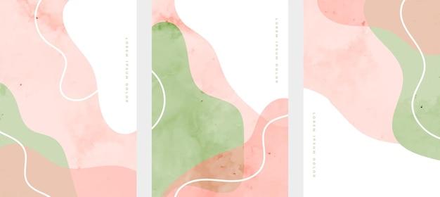 부드러운 유체 라인 추상 손으로 그린 최소한의 포스터 세트