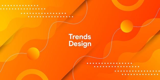 Гладкая оранжевая кривая фона с динамическим красочным градиентом