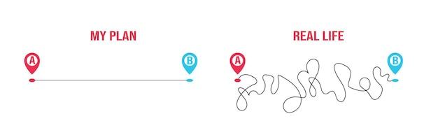 スムーズなルートa対現実のハードでラフな計画白い背景で隔離のベクトルフラットイラスト