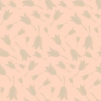 ベージュの背景にチューリップの花のシルエットと滑らかなシームレスな花柄